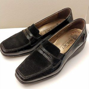 Mephisto loafers patent and suede size 7.5